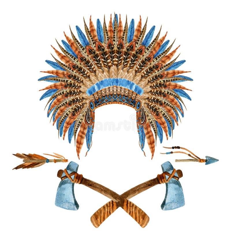 Kopfschmucke des amerikanischen Ureinwohners stock abbildung