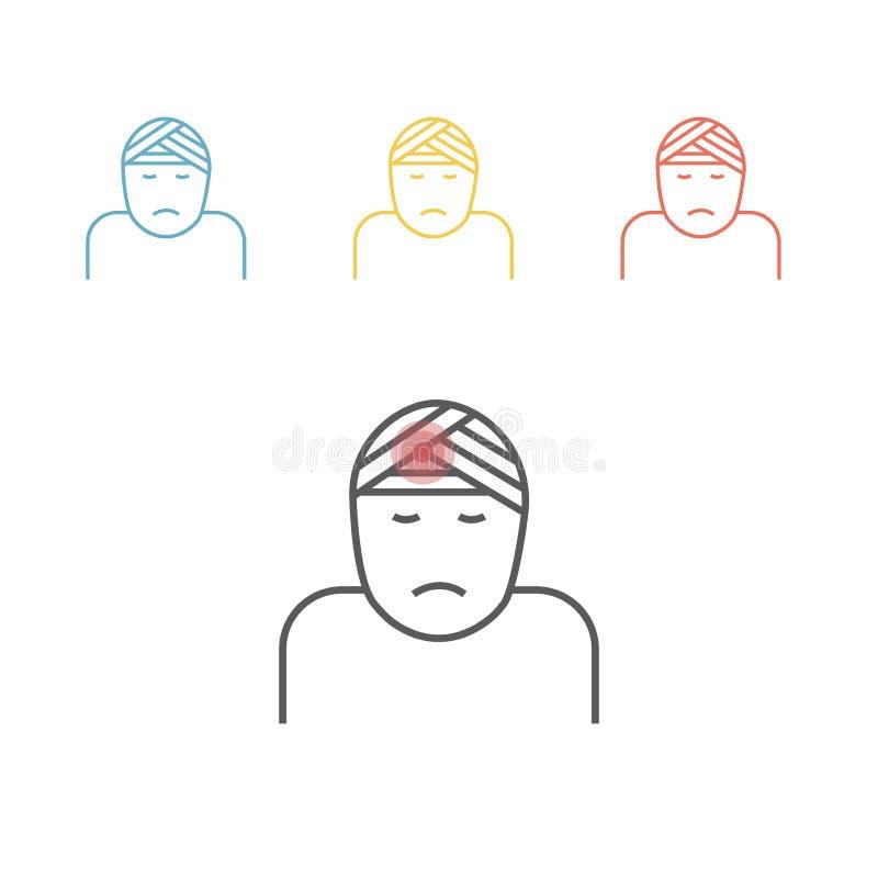 Kopfverletzungslinie Ikone Vektorillustration für Website lizenzfreie abbildung