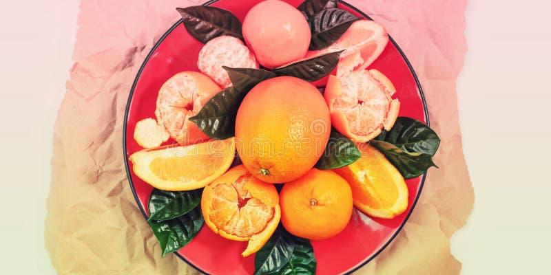 Kopi?ren de banner Rode plaat van sinaasappelen en de mandarijnen met groene bladeren op een lichte Hoogste mening als achtergron royalty-vrije stock afbeeldingen