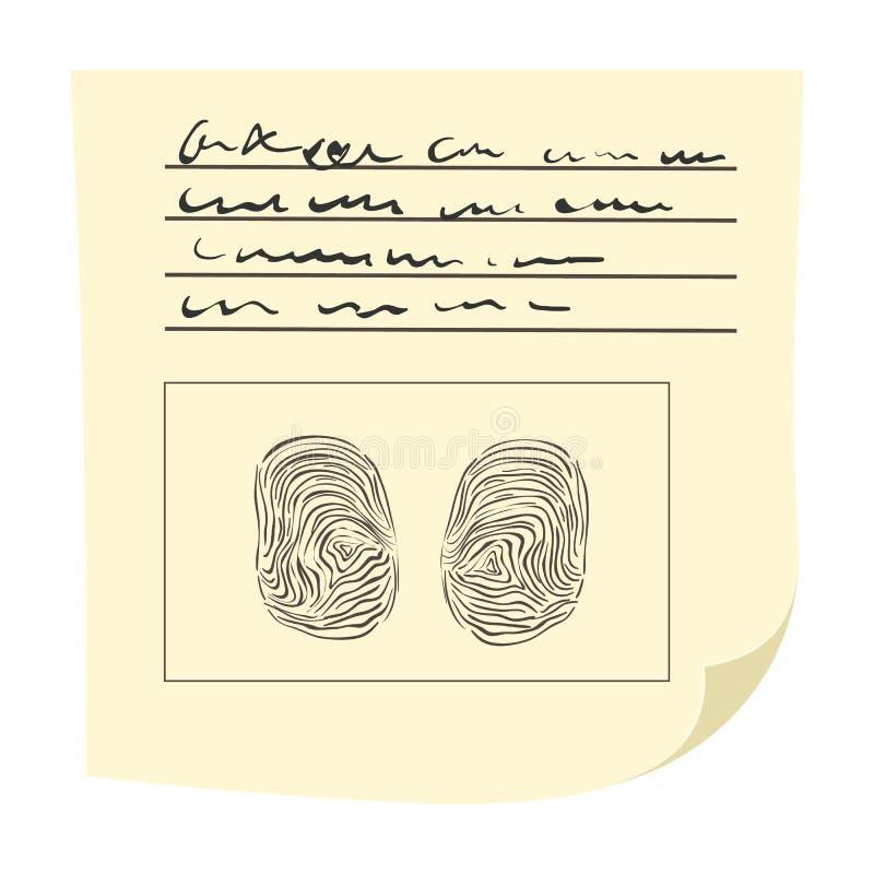 Kopia palce na odcisk palca karty kreskówki ikonie ilustracja wektor