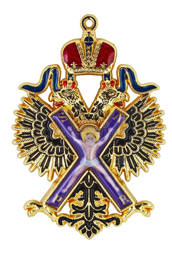 Kopia znak Rosyjski rozkaz apostoła St Andrew Najpierw Wzywam biały tło odizolowywał ilustracji