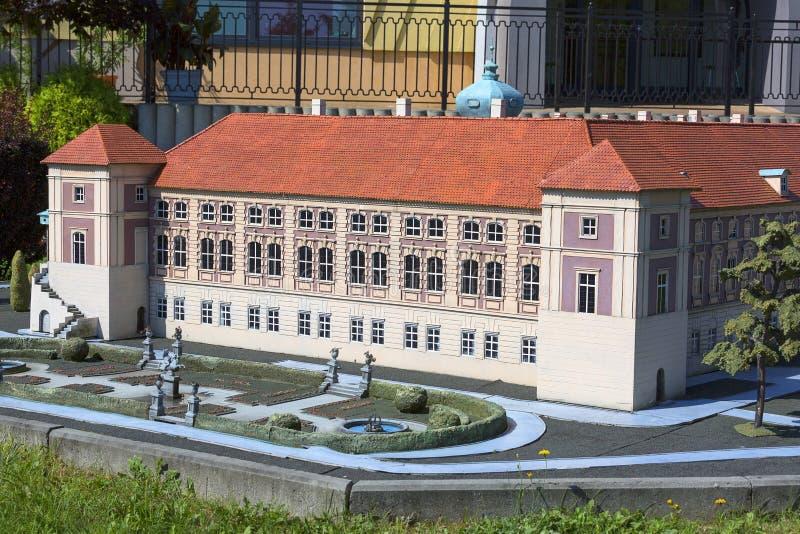 Kopian av den Lancut slotten, miniatyr parkerar, Inwald, Polen royaltyfria bilder