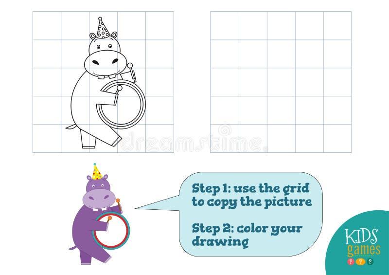 Kopie und Farbe stellen Vektorillustration, ?bung dar Lustiges Karikaturnilpferd stock abbildung