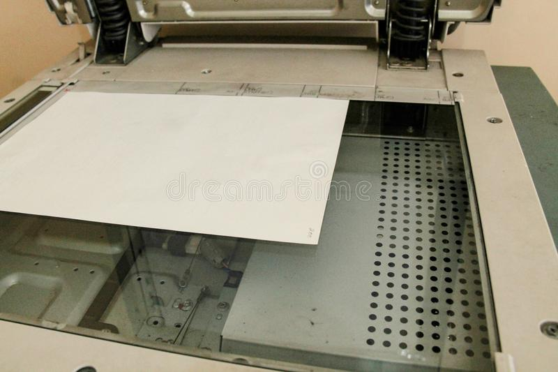 Kopieerapparaatdelen, fotokopieerapparaat kijkt hierboven van royalty-vrije stock afbeeldingen