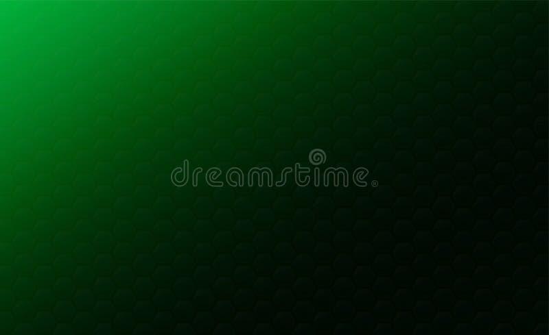 Kopienraum, abstraktes Hintergrundkonzept des geometrischen grafischen nahtlosen grünen Hexagons lizenzfreie abbildung