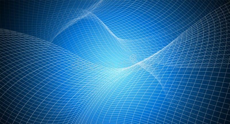 Kopienraum mit unregelmäßigem Gitter des Zusammenfassungshintergrundes, Maschenmuster auf Blaulicht vektor abbildung