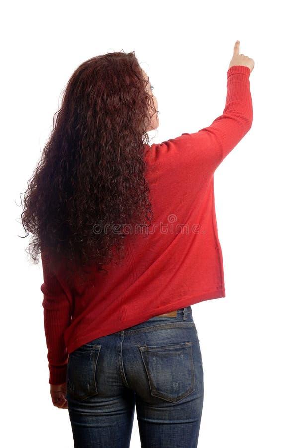 kopiera att peka avståndskvinnan royaltyfria bilder