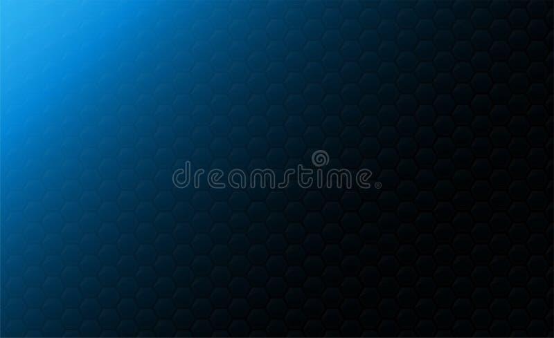 Kopiera utrymme, abstrakt bakgrundsbegrepp av den geometriska grafiska sömlösa blåa sexhörningen royaltyfri illustrationer