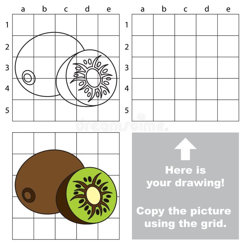 Kopieren Sie das Bild unter Verwendung des Gitters Kiwi lizenzfreie abbildung