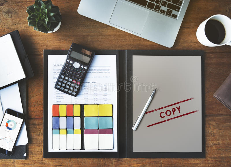 Kopieren Sie doppelten Druck-Scan-Abschrift-Kontrollabschnitt Concpet lizenzfreie stockfotografie