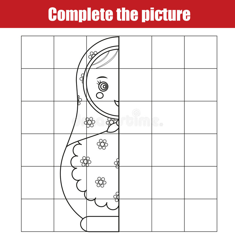 Kopieren Sie durch Gitter Schließen Sie das Bildkinderlernspiel ab und Seite färben Scherzt Tätigkeitsblatt mit matreshka Puppe stock abbildung