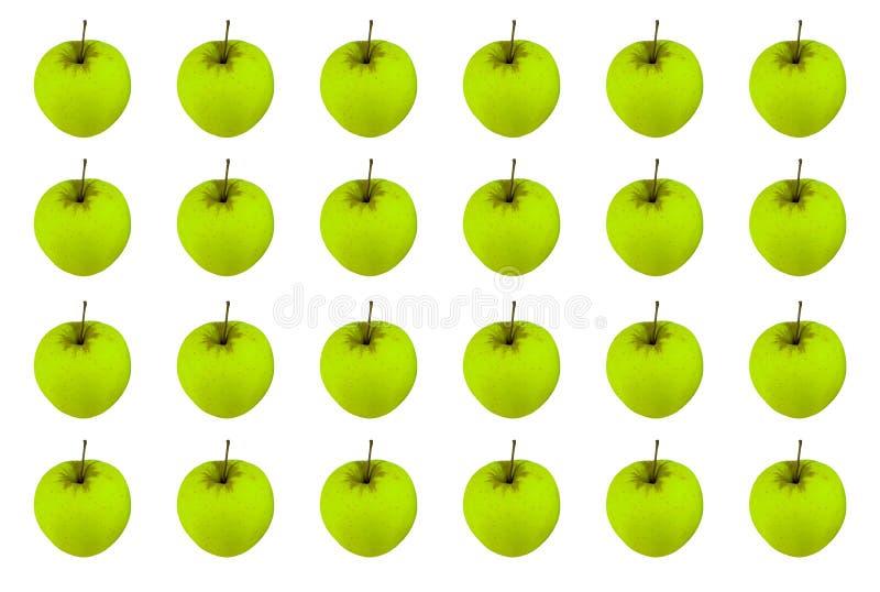 Kopieren Sie endlose Reihe der grünen Frucht des Apfels saftigen reifen auf einem weißen Hintergrund, symmetrische helle Basis stockfotografie