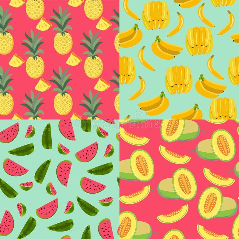 Kopieren Sie mit Früchten Banane, Ananas, Melone und Wassermelone lizenzfreie abbildung