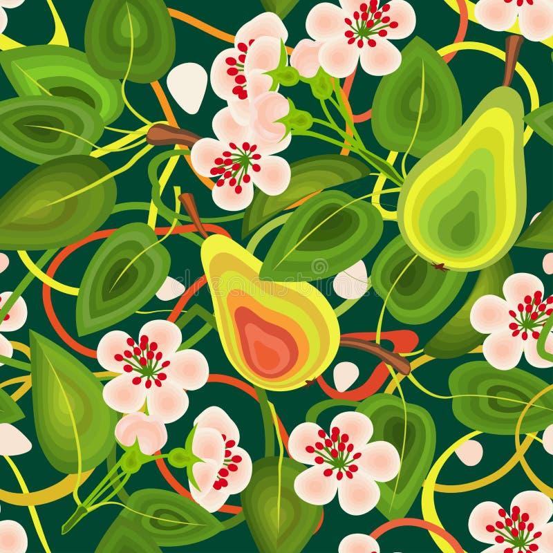 Kopieren Sie nahtloses von Blättern von Blumen, Birnen auf einem grünen Hintergrund Für Stoff Tapete, Packpapier vektor abbildung
