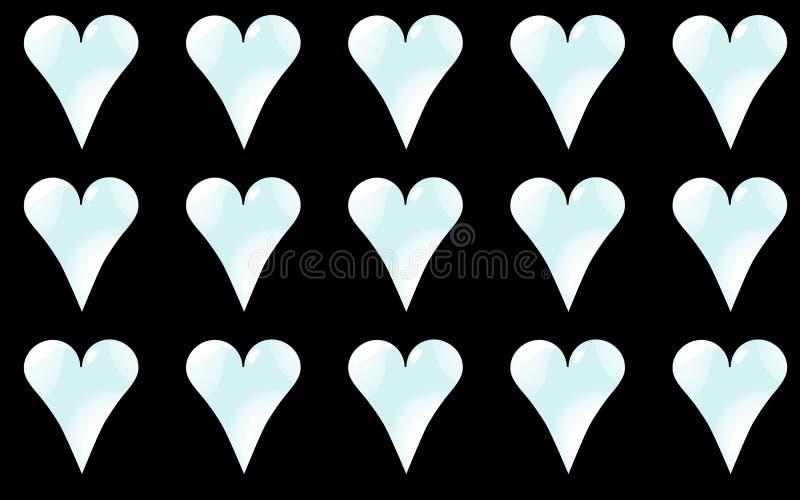 Kopieren Sie nahtloses von den kalten, hellblauen, glänzenden Herzen zum Tag von St.-Valentinsgruß auf einem schwarzen Hintergrun lizenzfreie abbildung