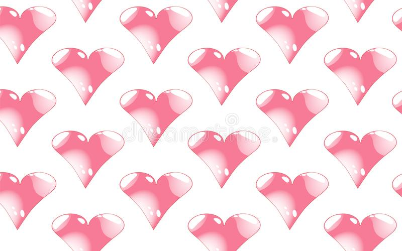 Kopieren Sie nahtloses von rosa, glänzenden Herzen mit Höhepunkten zum Tag von St.-Valentinsgruß auf einem weißen Hintergrund stock abbildung