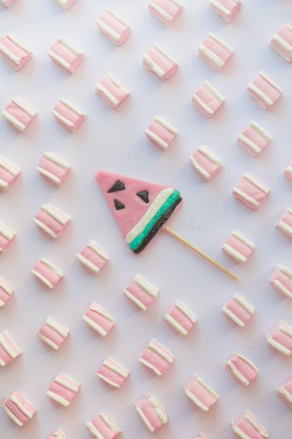 Kopieren Sie süßen Eibisch, Süßigkeit auf weißem Hintergrund lizenzfreie stockfotos