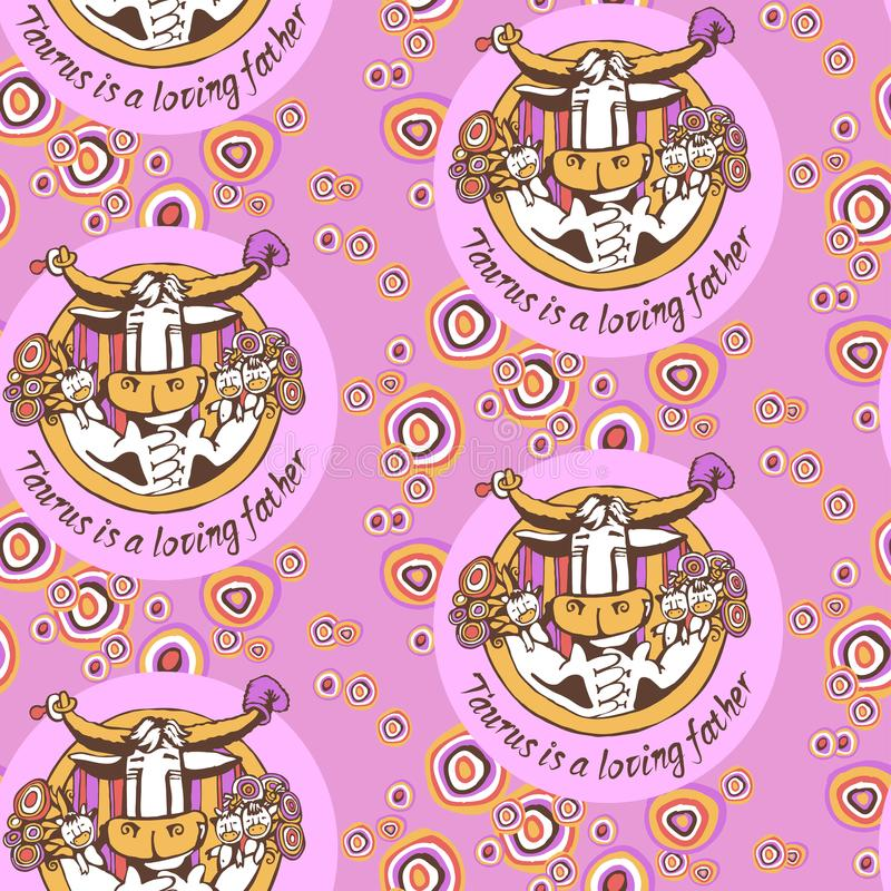 Kopieren Sie Taurus Loving Father mit Kinder- und der Blumenhumorvoller Illustration mit der Aufschrift im Kreis lizenzfreie stockfotos