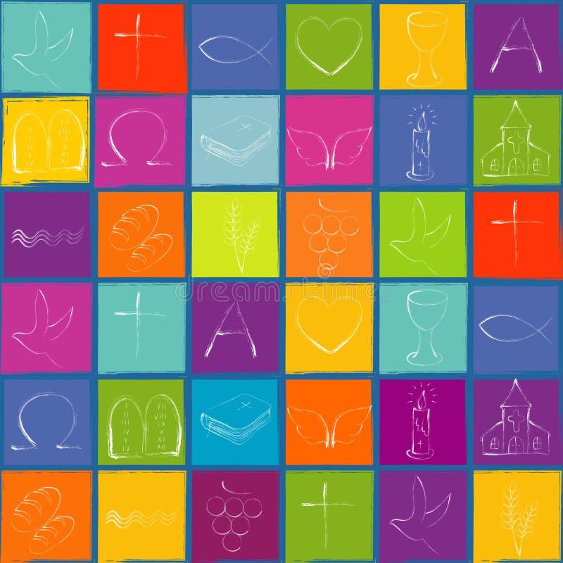 Kopieren Sie weiße christliche Symbole auf farbigem Schachbretthintergrund mit blauem Rahmen wiederholbar vektor abbildung