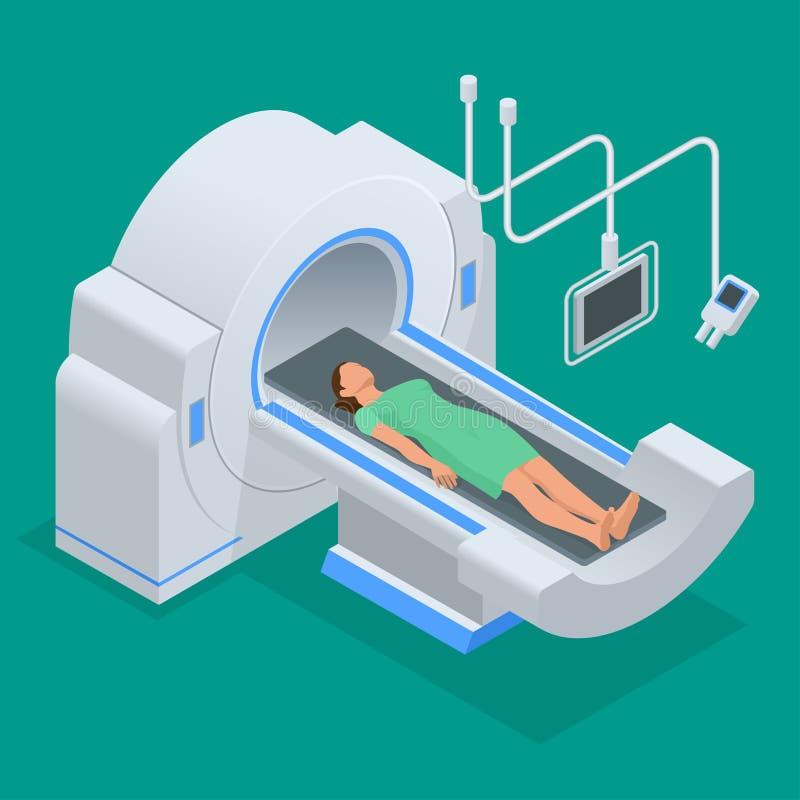 Kopiering för magnetisk resonans MRI av kroppen Plan isometrisk illustration royaltyfri illustrationer