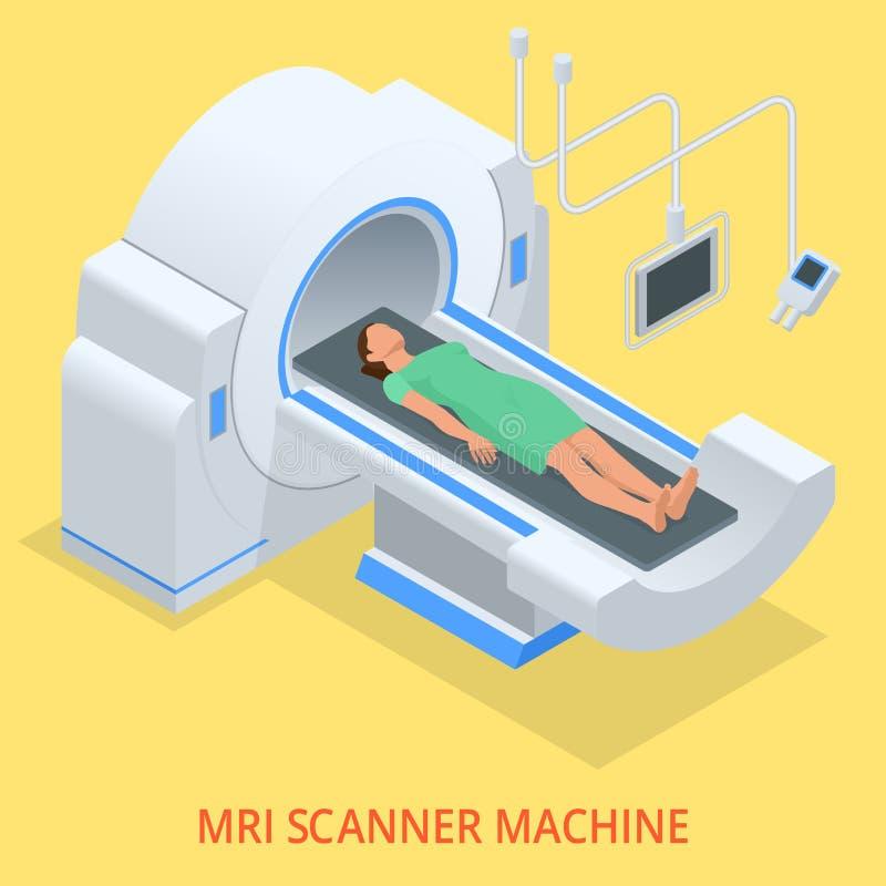 Kopiering för magnetisk resonans MRI av kroppen Plan isometrisk illustration Medicindiagnostikbegrepp stock illustrationer