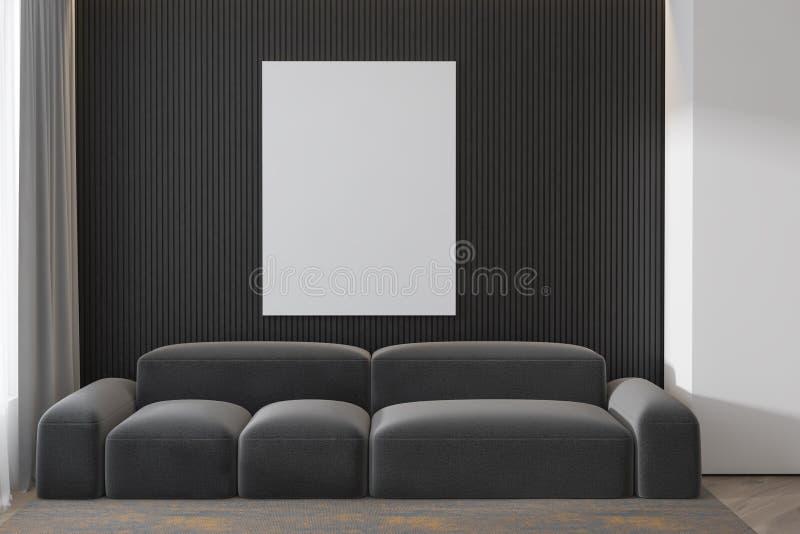 Kopieringsutrymme på den gråa betongväggen med affischen och den moderna älskvärda vardagsrumsoffainre 3d framför Modell royaltyfri illustrationer