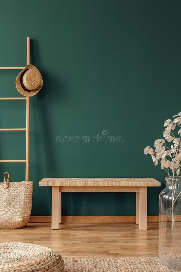 Kopieringsutrymme på den tomma gröna väggen av elegant rum med trästegen med den vide- hatten och bänken royaltyfri fotografi