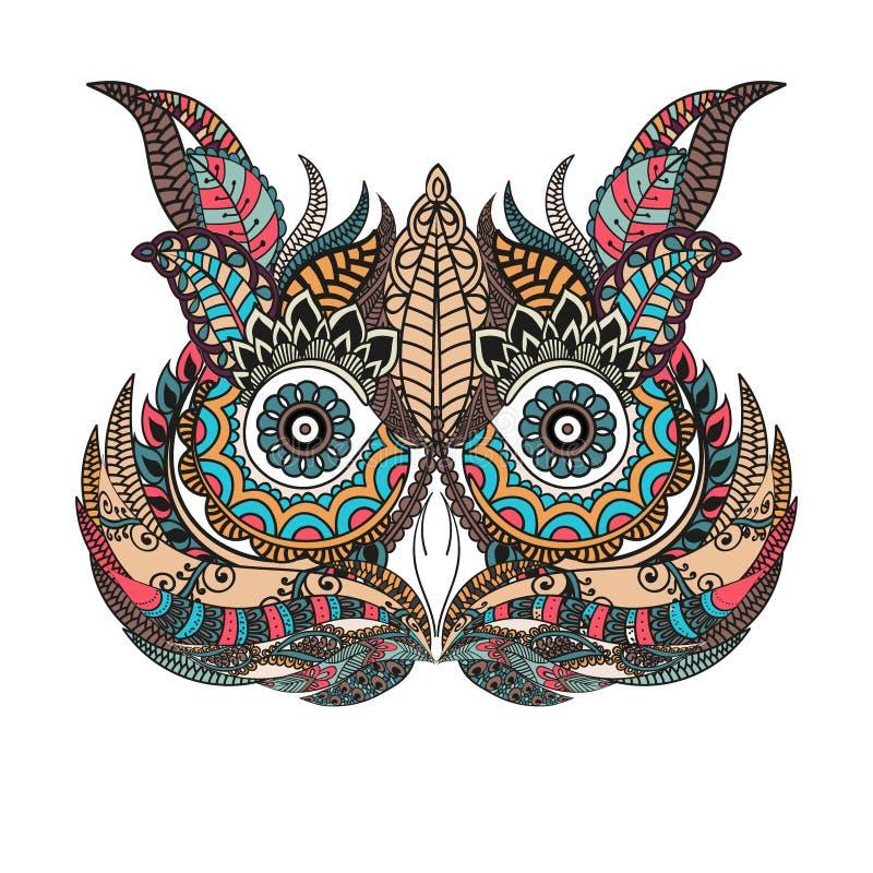 Kopierte Eule auf dem Schmutzhintergrund Afrikanisch, indisch, Totem, Tätowierungsdesign Es wird für Design eines Hemdes, Tasche  stock abbildung