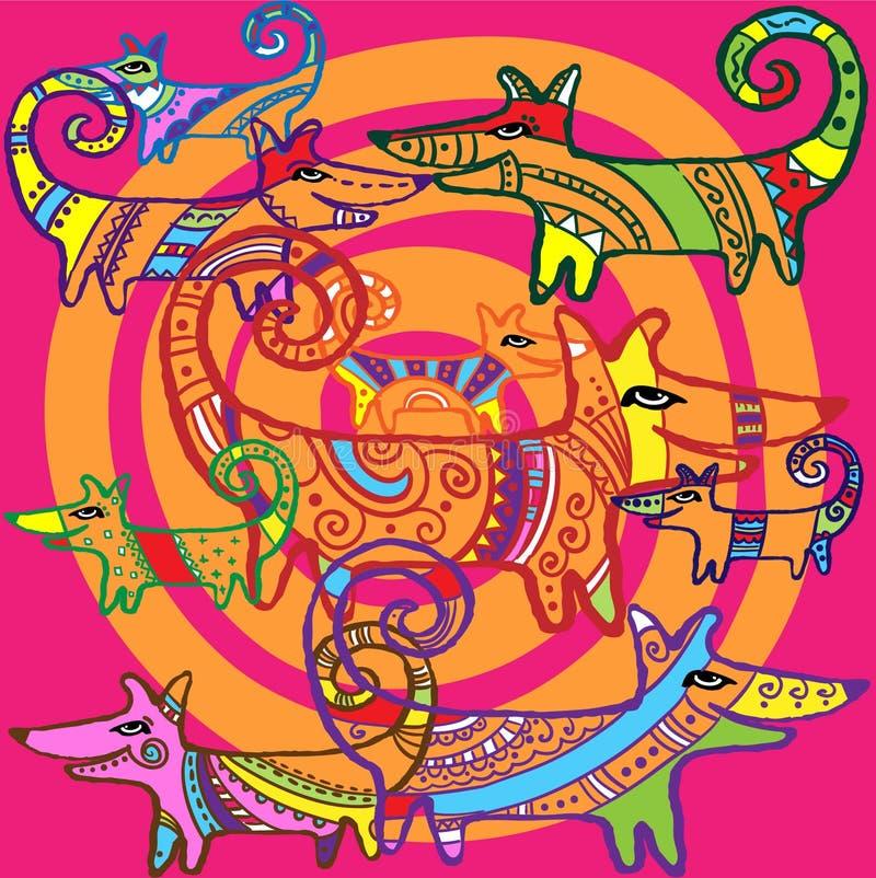 Kopierte Hunde und orange Spiralen stock abbildung