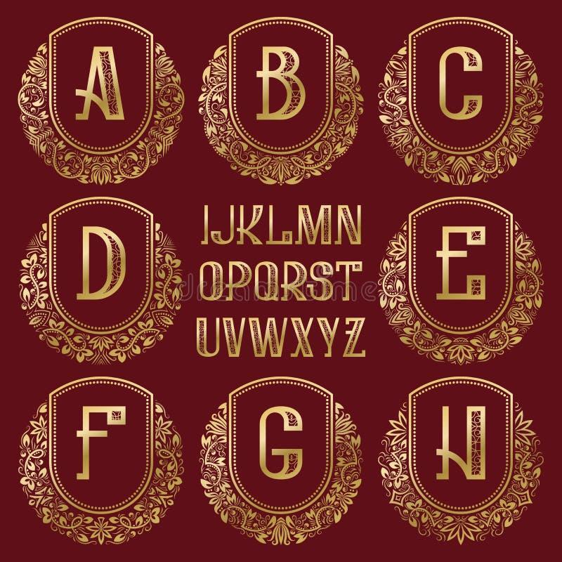 Kopierte königliche Monogrammausrüstung Goldene Buchstaben und dekorative Kreiskranzrahmen für die Schaffung des Anfangslogos lizenzfreie abbildung