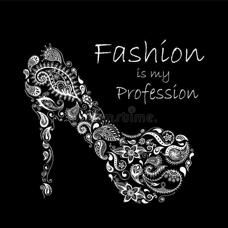Kopierte Schuhe Batik, Gekritzel, zentangle Design Es wird für Design eines T-Shirts, der Tasche, der Postkarte und des Plakats v lizenzfreie abbildung
