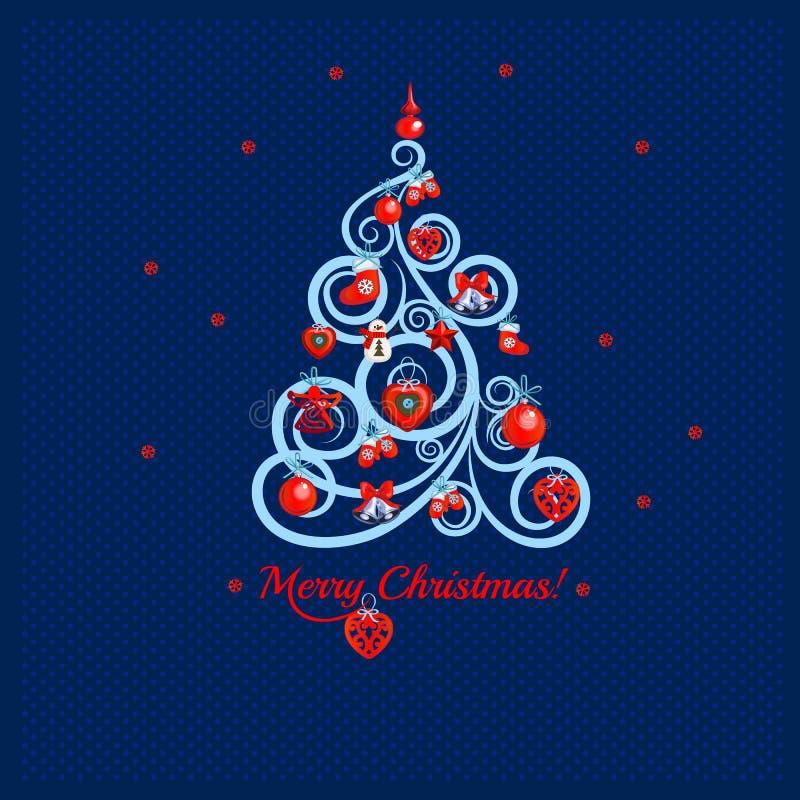 Kopierter blumiger Weihnachtsbaum auf einem Hintergrund von blauen Punkten und von Wörter frohen Weihnachten Probe des Plakats, P stock abbildung