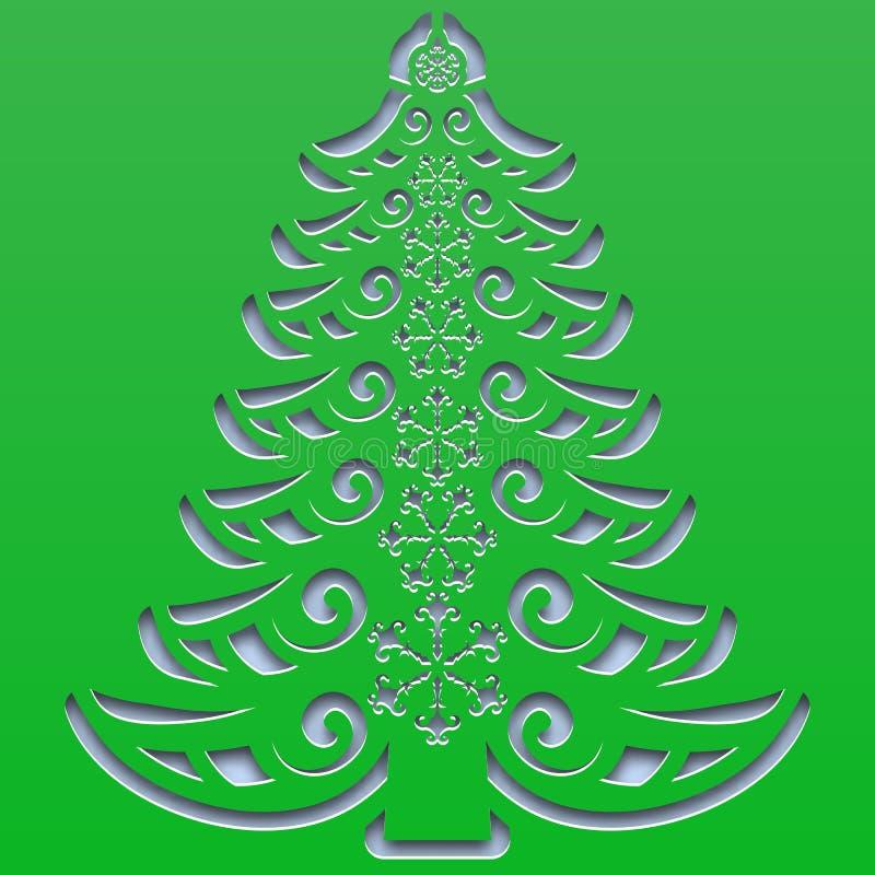 Kopierter Weihnachtsbaum mit den Schneeflocken geschnitzt auf dem quadratischen Papier stock abbildung