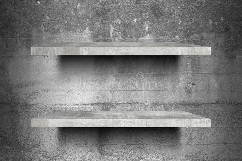 Kopii półek pusty betonowy odgórny Przygotowywający dla produktu pokazu montażu ilustracji