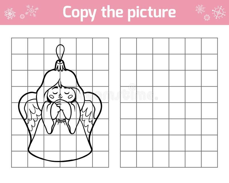 Kopiuje obrazek dla dzieci Bożenarodzeniowe zabawki, anioł ilustracja wektor
