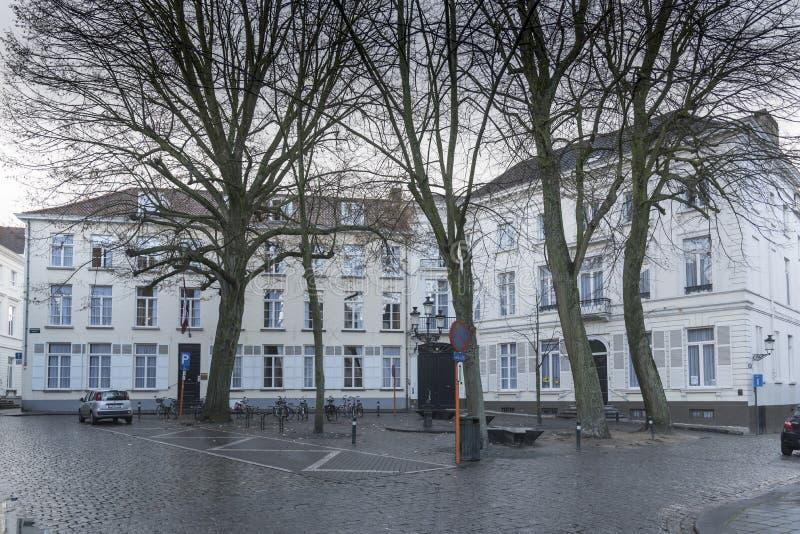 Kopje zaufanie buduje Biskajersplaan Bruges obrazy stock