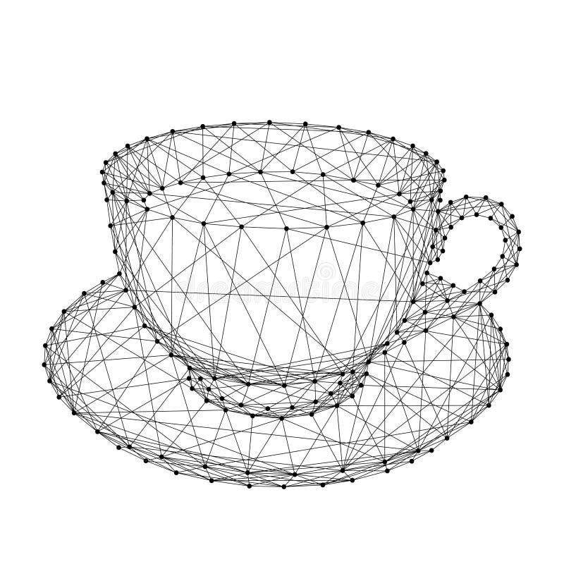 Kopmok met koffie of thee op een schotel van abstracte futuristisch royalty-vrije illustratie