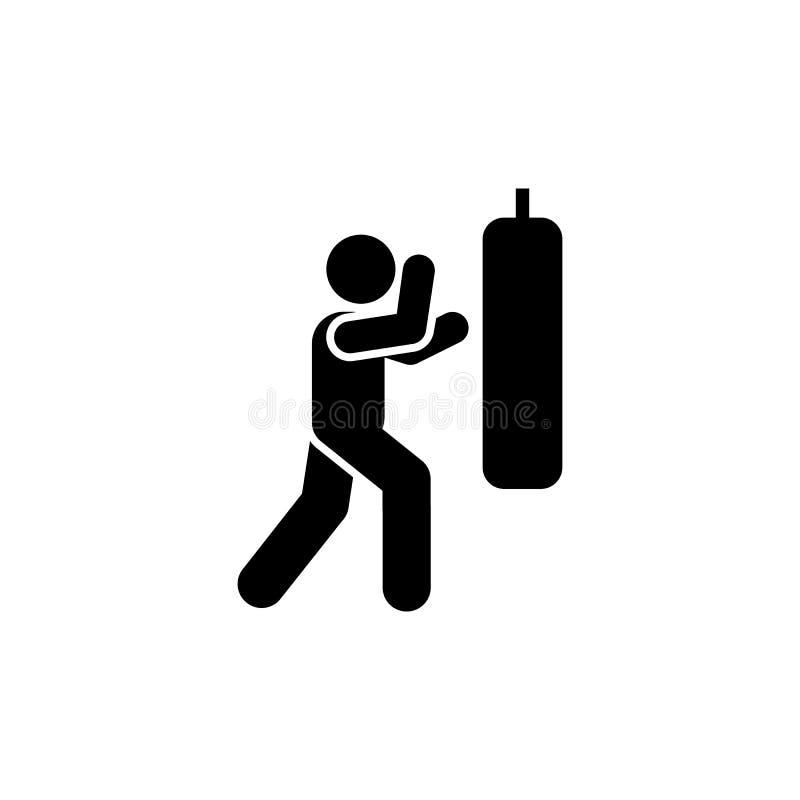 Kopnięcie, boks, mężczyzna, sprawność fizyczna, gym ikona Element gym piktogram Premii ilo?ci graficznego projekta ikona znaki i  royalty ilustracja