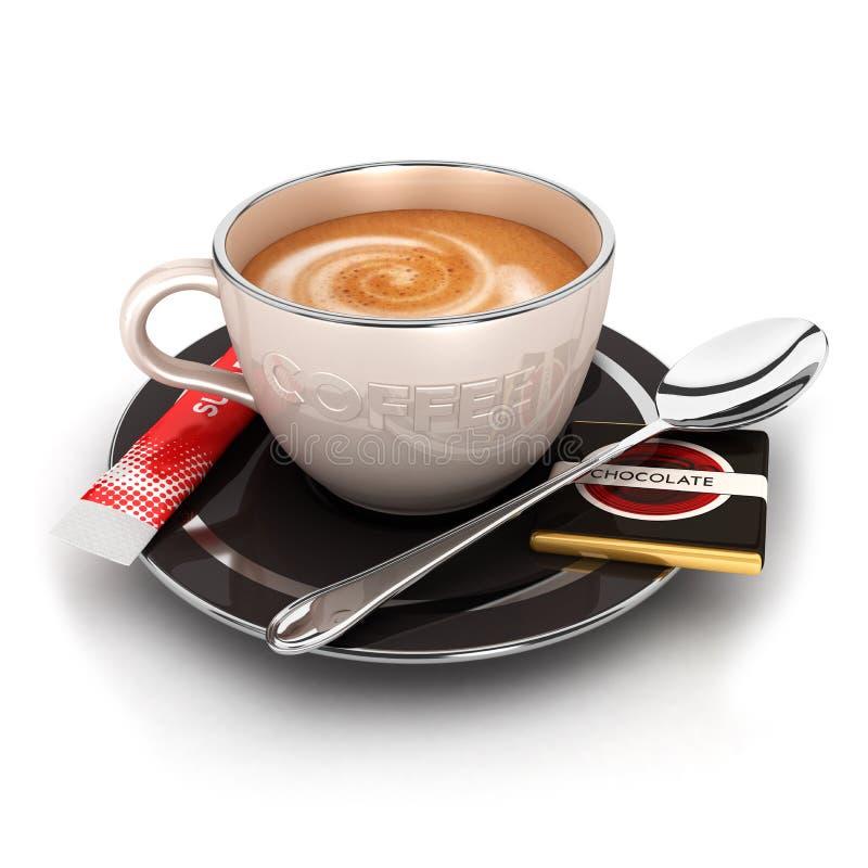 kopp 3d av kaffe royaltyfri illustrationer