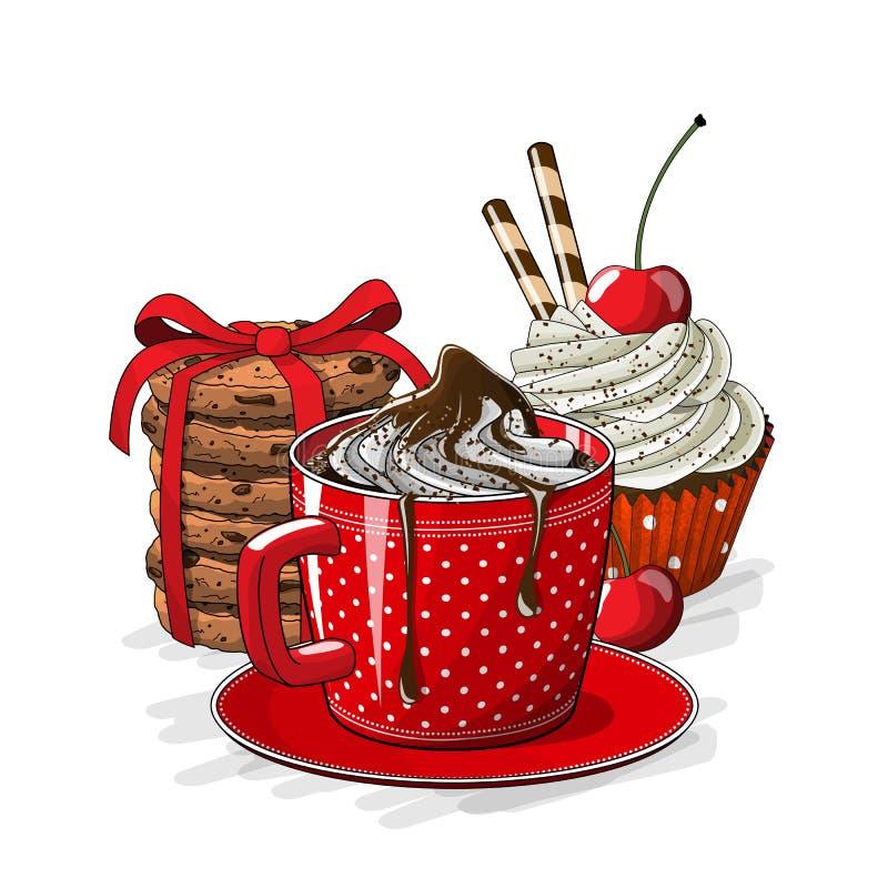 Kopp av den coffe-, muffin- och kakaillustrationen stock illustrationer