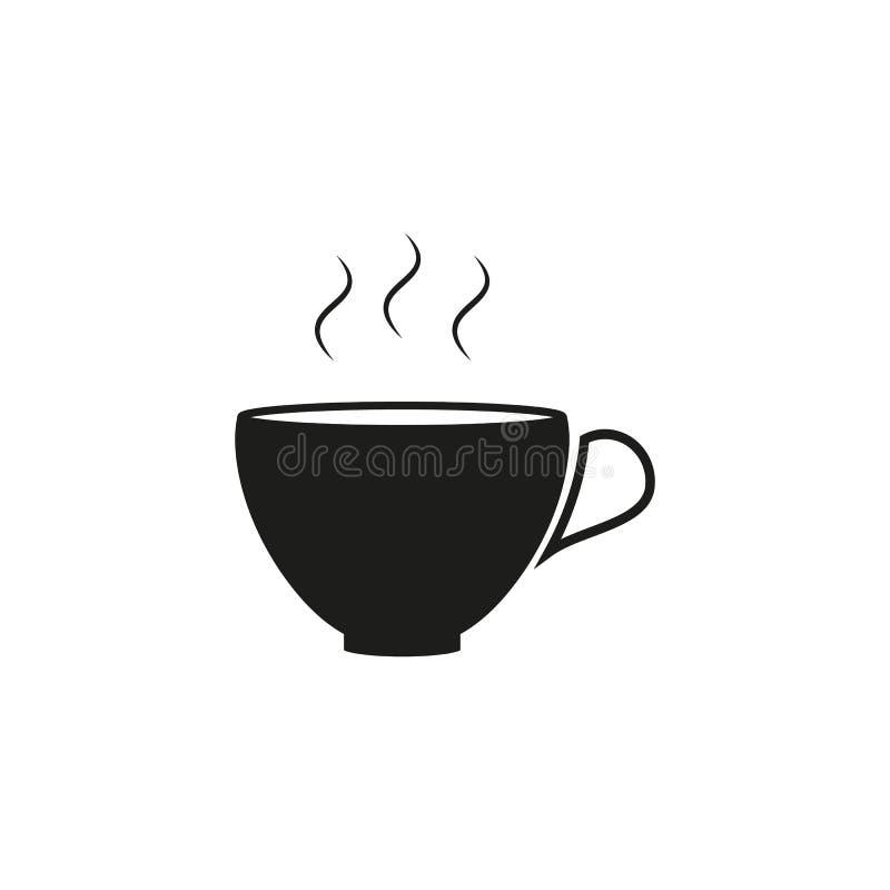 Kopp av den svarta symbolen för varmt eller varmt kaffe stock illustrationer