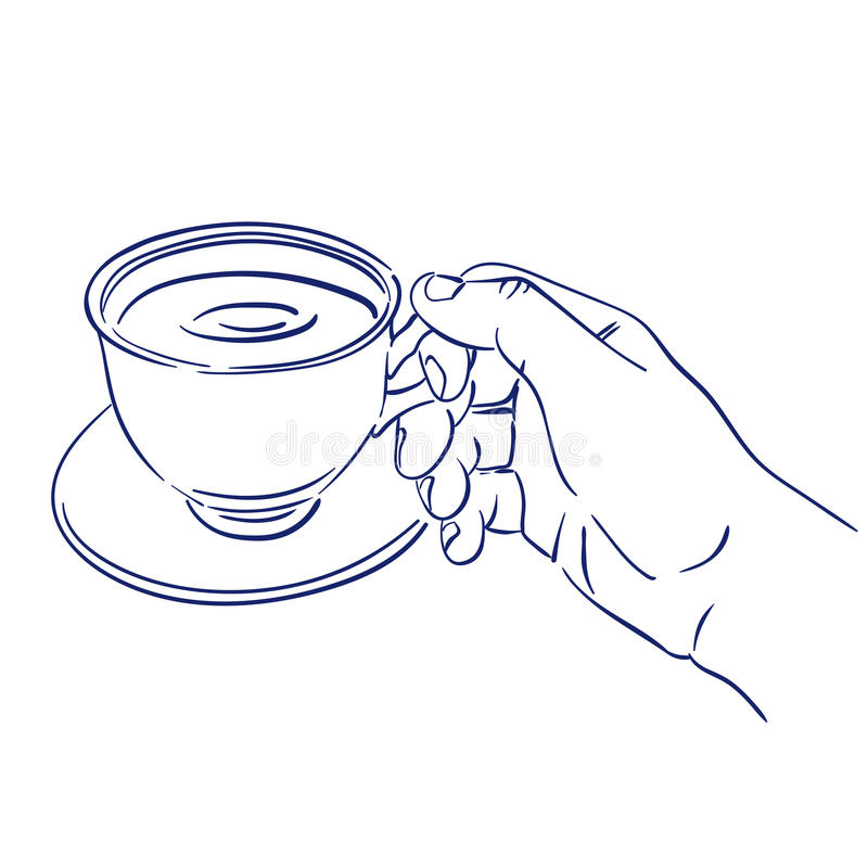 Kopp av doftande kaffe i hand royaltyfri illustrationer
