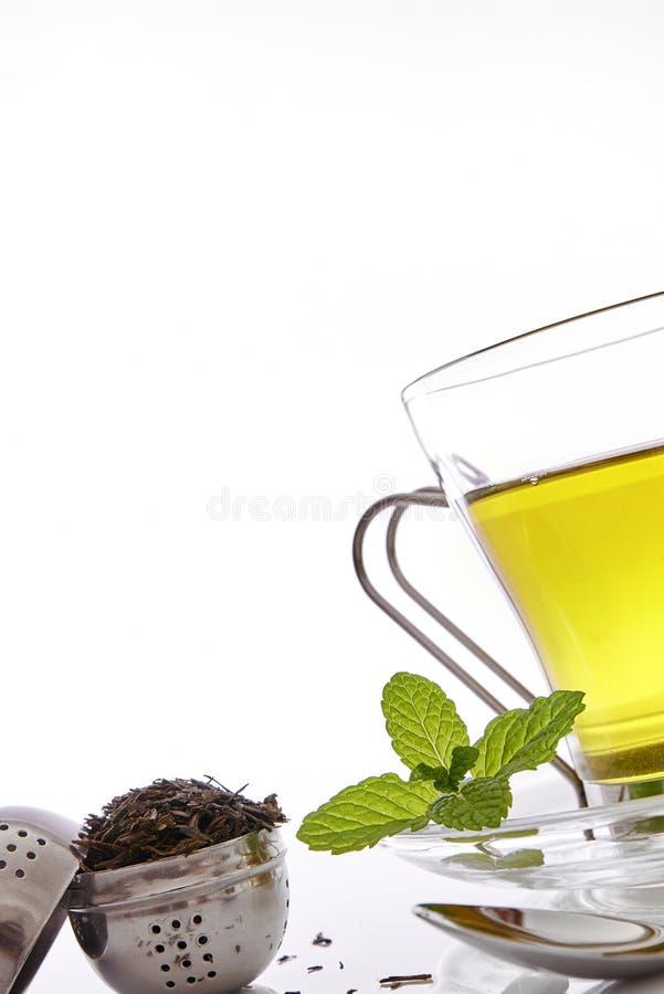 Kopp av grönt te med slut för främre sikt för mintkaramell upp arkivfoton