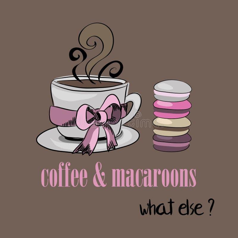 Kopp av kaffe med macaroons Kaffe och Macarons Vad annat? Vektorillustration på brun bakgrund royaltyfri illustrationer