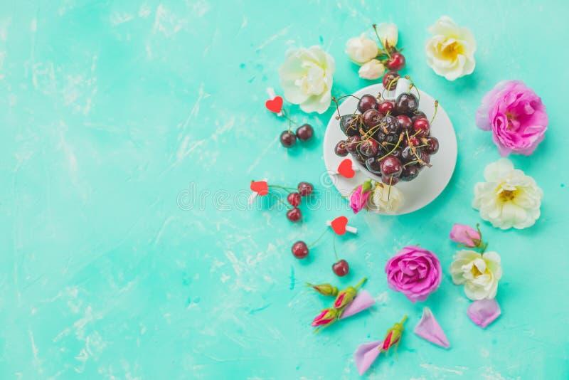 Kopp av växt- körsbärsröda bär, rosa te med gruppfilialrosor, nödvändig olja E fotografering för bildbyråer