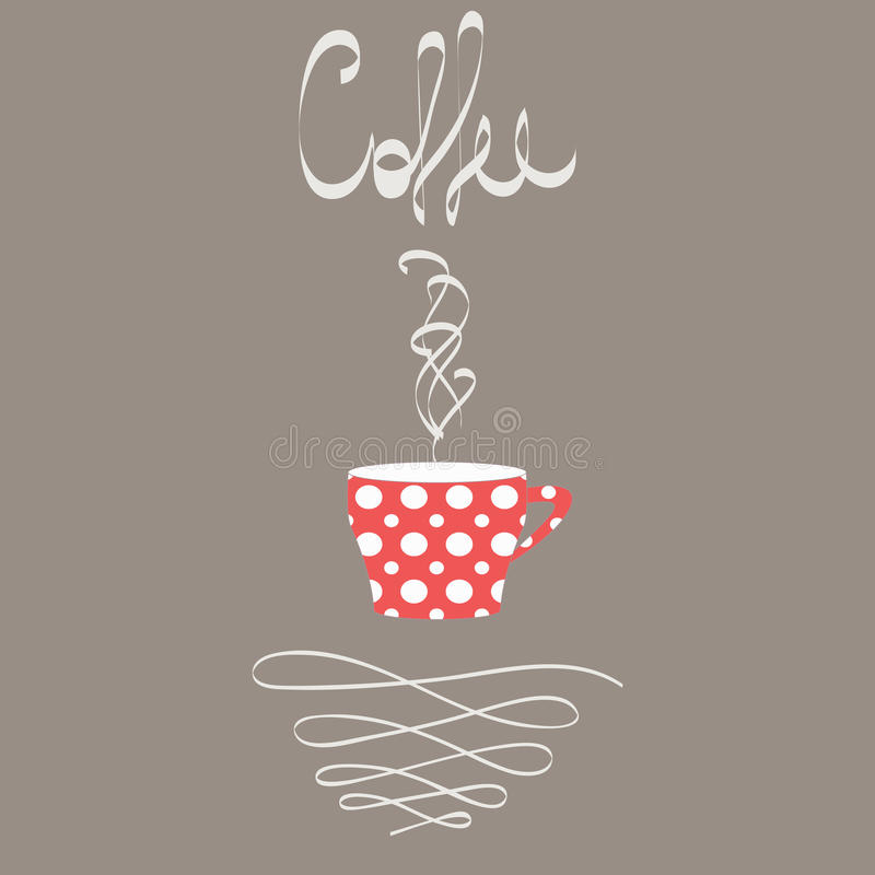 Kopp av varmt kaffe i retro stil stock illustrationer