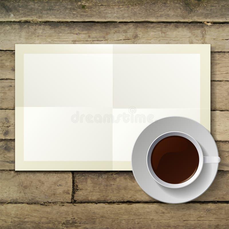 Kopp av varmt kaffe och anmärkningspapper på trä stock illustrationer