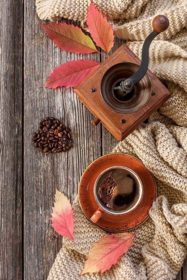 Kopp av varmt svart kaffe och denformade pepparkakan med höstliga sidor och den varma halsduken Höstbakgrund, bästa sikt, närbild royaltyfria bilder