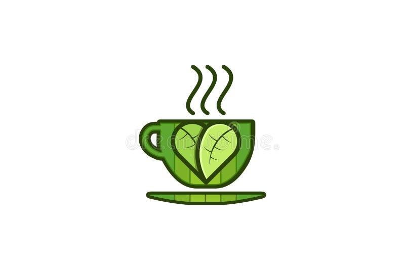 Kopp för grönt te, förälskelse, blad Logo Designs Inspiration Isolated på vit bakgrund stock illustrationer