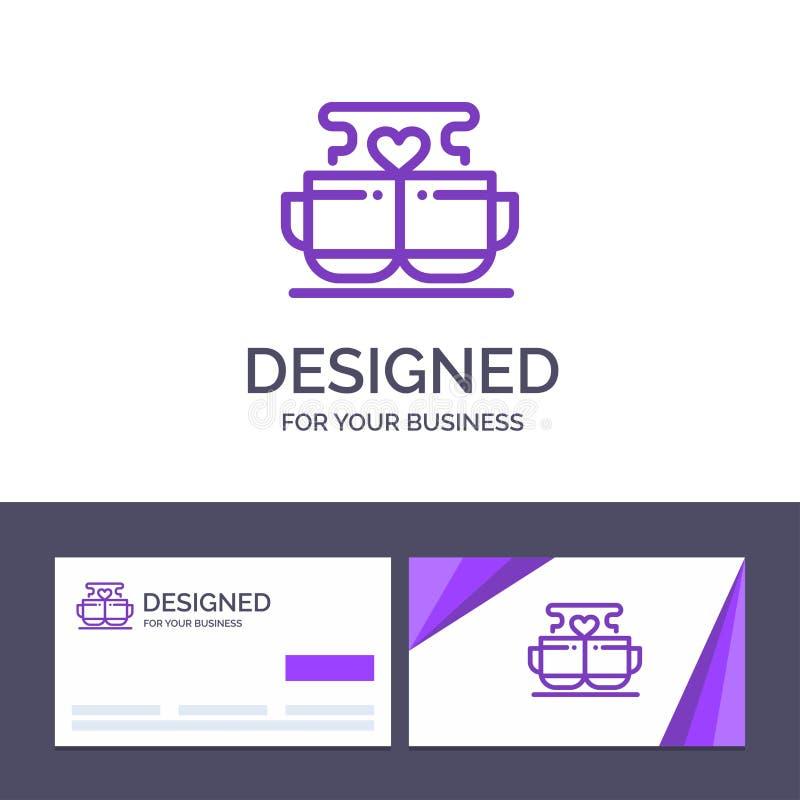 Kopp för idérik mall för affärskort och logo, kaffe, förälskelse, hjärta, Valentine Vector Illustration royaltyfri illustrationer